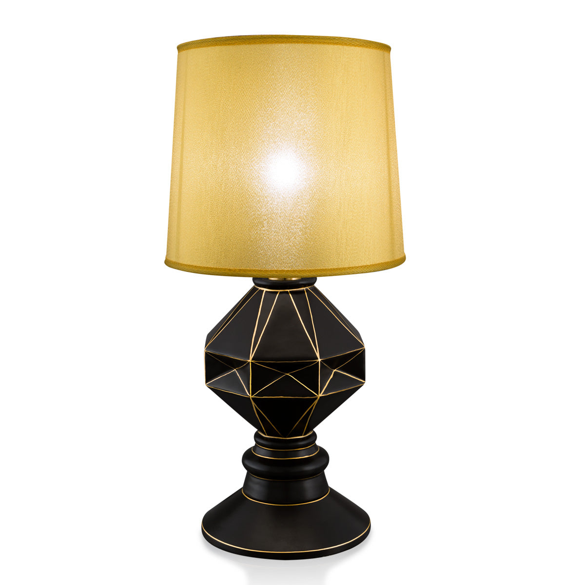 Hexagonal ceramic table lamp with gold