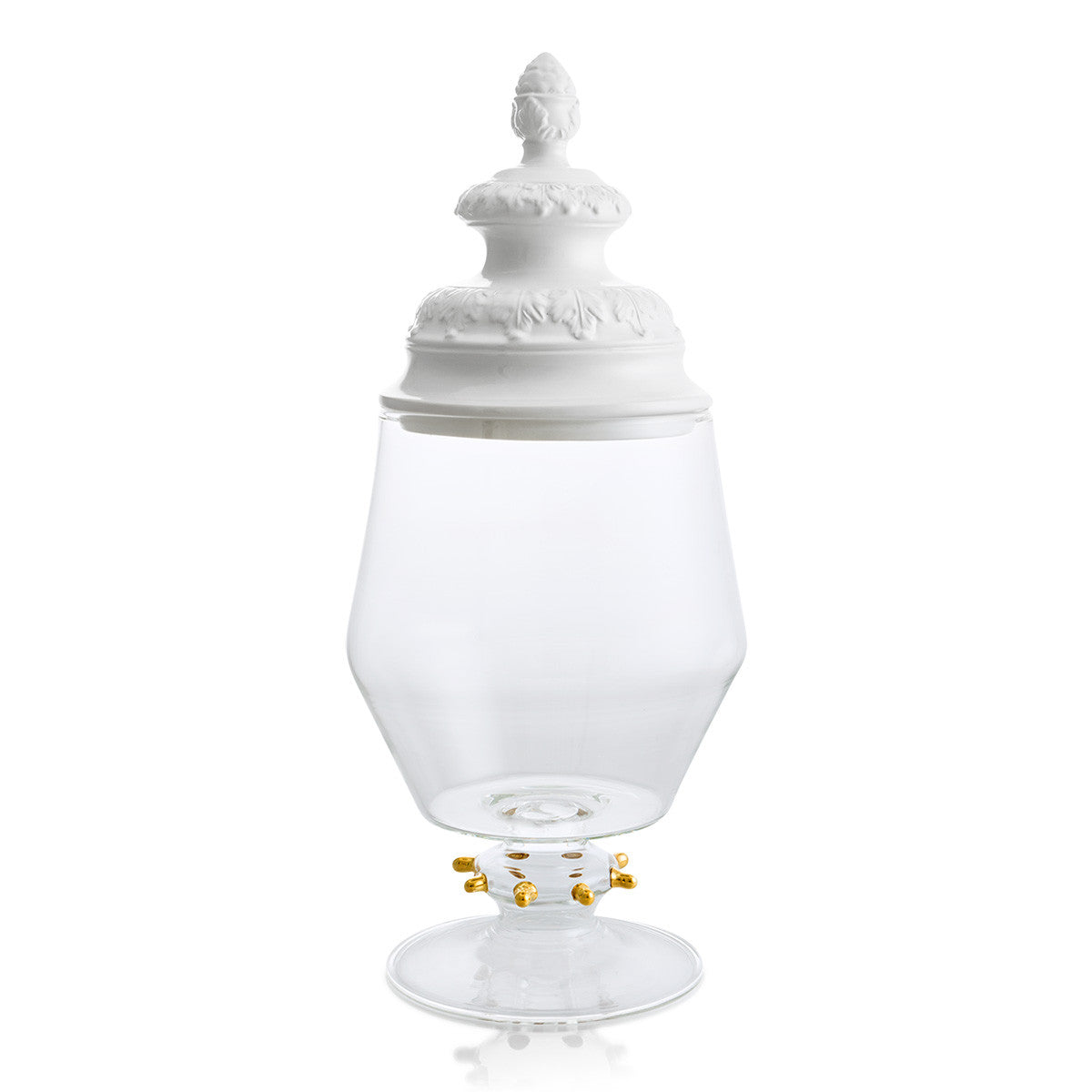 Glass jar with ceramic porcelain baroque lid