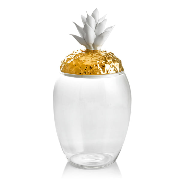 Glass jar with ceramic porcelain pineapple lid finished in gold