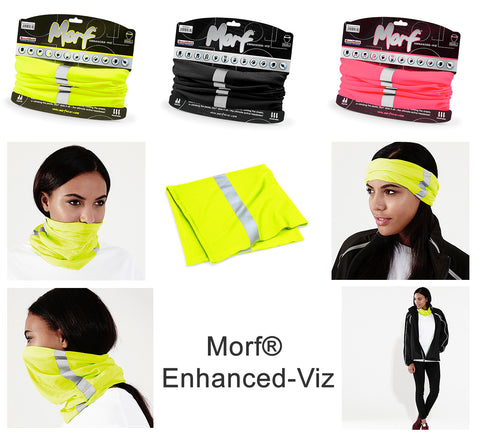 Morf HI-VIS Multi Use Headband Snood Hat Scarf Running Walking Cycling Biking Beechfield Fluorescent