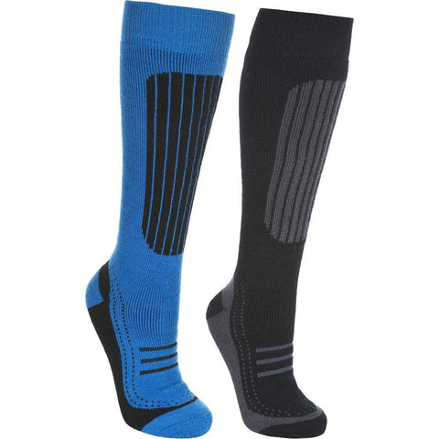 Trespass Langdon Mens Ski Socks (2 Pair Pack) - Black/Blue