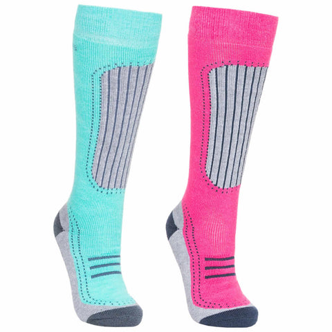 Trespass Janus II Womens Ski Snowboarding Winter Sports Ergonomic Tube Socks (2 Pair Pack)