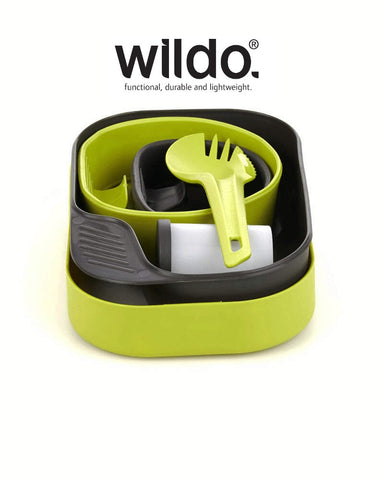Wildo CAMP-A-BOX® COMPLETE Camping Plate Dish Bowl Cup Set Spork