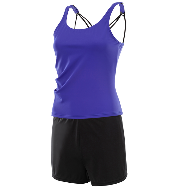 Kes-Vir Ladies Tankini with Shorts Purple/Black - Incy Wincy Swimstore