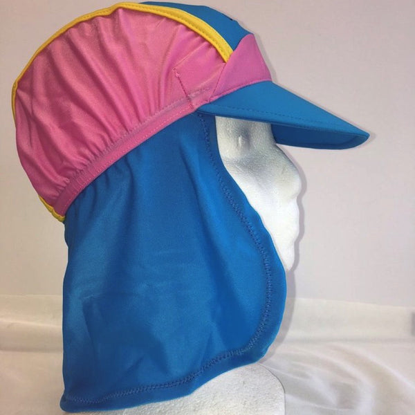 UV protection cap with neck protection for girls