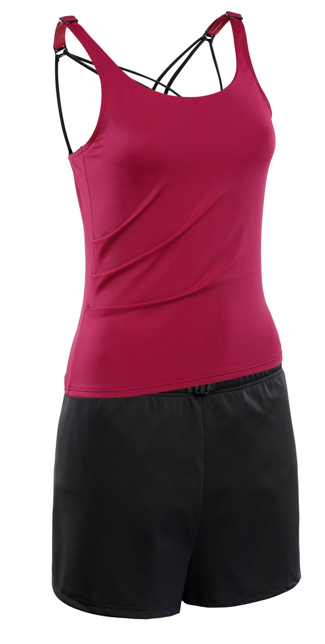 Kes-Vir Ladies Tankini with Shorts Cherry/Black - Incy Wincy Swimstore