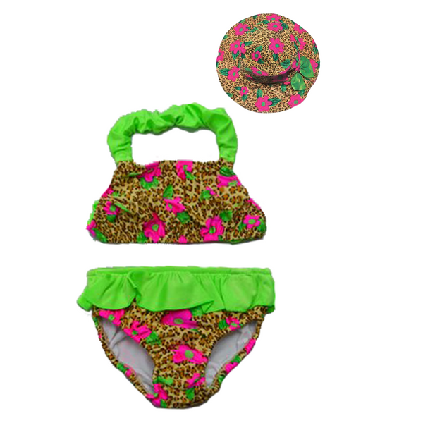 Girl's Leopard Swim nappy Bikini - Incy Wincy Swimstore