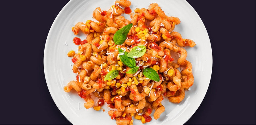 Whole Wheat Fusilli with a Roasted Pepper Tomato Sauce