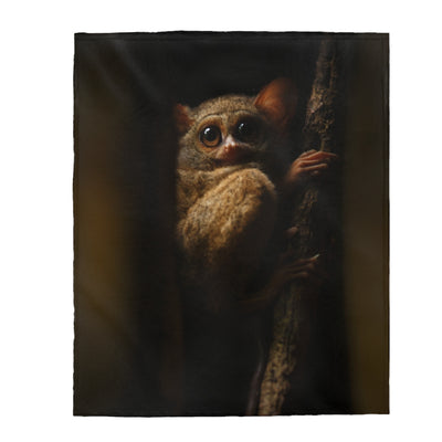 Tarsier Monkey Print Velveteen Plush Blanket, Gift for Son from Mom, Throw Blanket