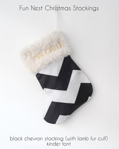 Christmas Stocking - Black Chevron