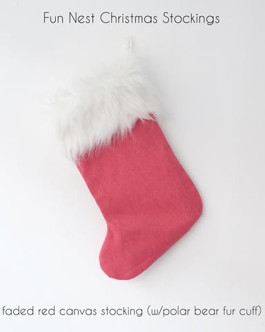 Christmas Stocking - Faded Red Canvas