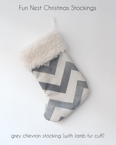 Christmas Stocking - Grey Chevron