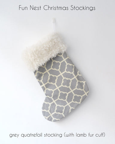 Christmas Stocking - Grey Quatrefoil