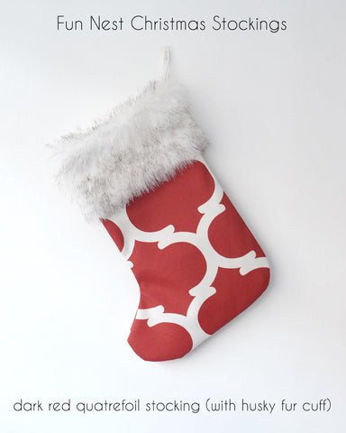 Christmas Stocking - Red Quatrefoil