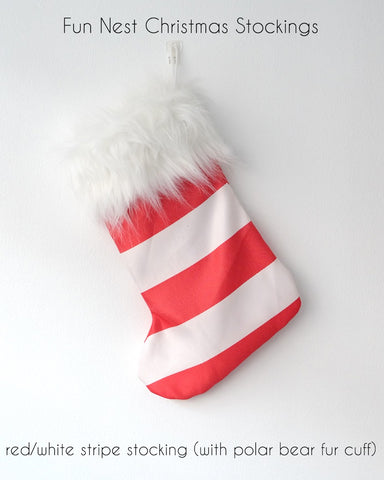Christmas Stocking - Red White Stripe