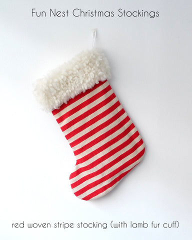 Christmas Stocking - Red Woven Stripe