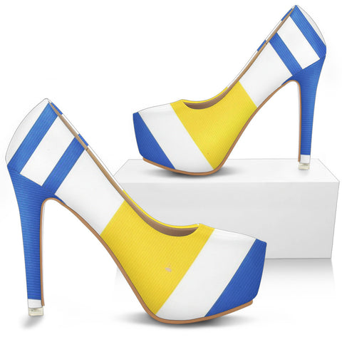 Bold Blue and Yellow Striped Women Shoe