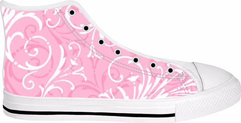 Elegant Pink Swirl High Top Sneakers
