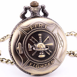 Fire Fighter Quartz Pocket Watch