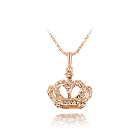 Rose Gold Classic Crown Pendant Necklace