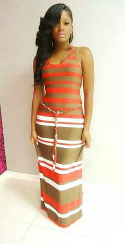Sleeveless Striped Maxi Dress With Belt