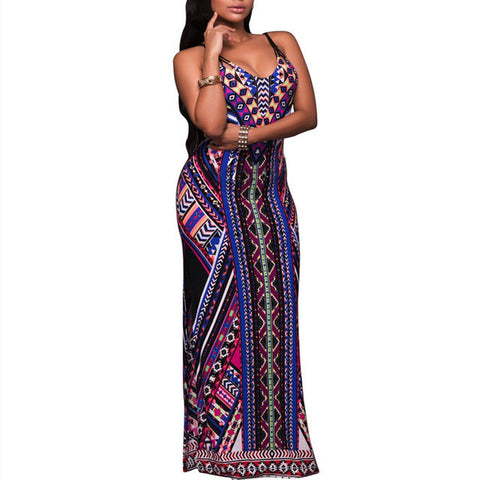 Retro Drawstring Open Back Printed Ethnic Maxi Dress