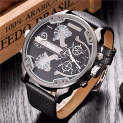 Top Brand Luxury Leather Strap Big Face Military Quartz Watch