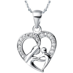 Mothers Day Gift Silver Plated Necklace With Mother and Child