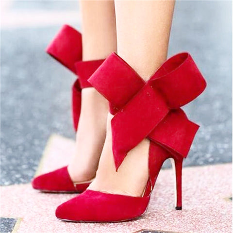 Big Bow Tie Pumps Butterfly Pointed Stiletto Shoes