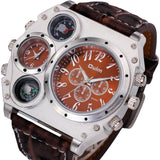 Men's Military Quartz Python Grain Leather Strap Wrist Watch