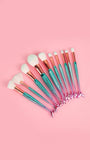 10 Piece Mermaid Tail Face Brush Set