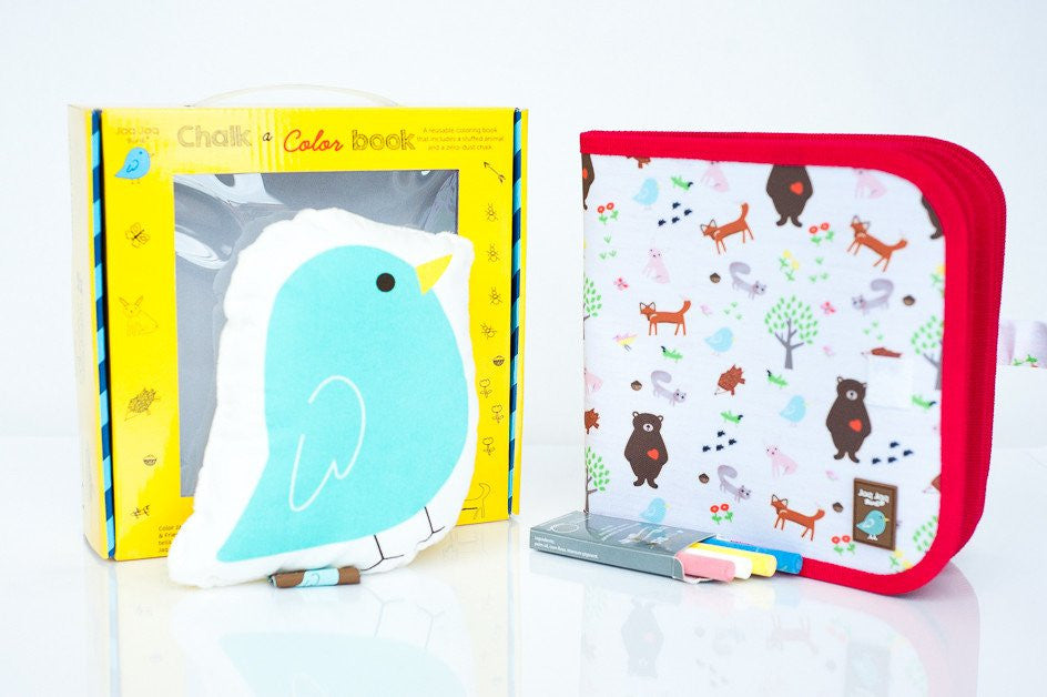 Jaq Jaq Bird Chalk A Color Book with Jaq Jaq Bird Gift Set