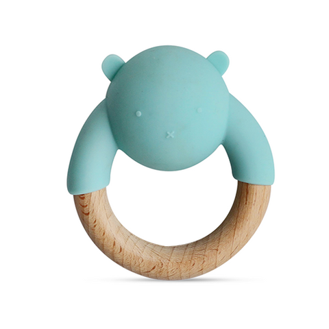 Little Rawr Silicone & Wood Rattle