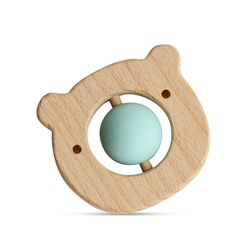 Little Rawr Silicone & Wood Teether with Ball Roller