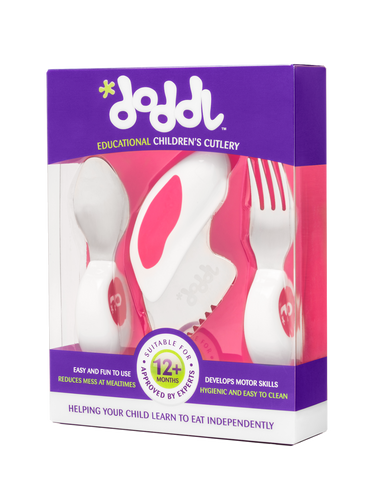 Doddl 3-Piece Cutlery Set Raspberry Pink