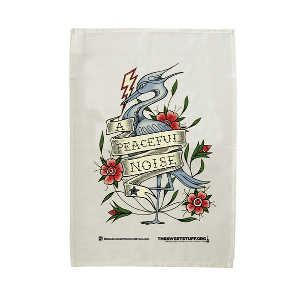 APN Colour Heron Tea Towel White