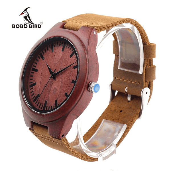 Bobo Bird Men's Maroon Sandal Bamboo Wood Watch - TheMillenialMale.com