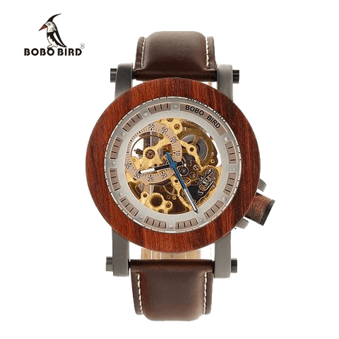Bobo Bird Luxury Brand Mechanical Rose Wooden Watch with Genuine Leather Strap - TheMillenialMale.com