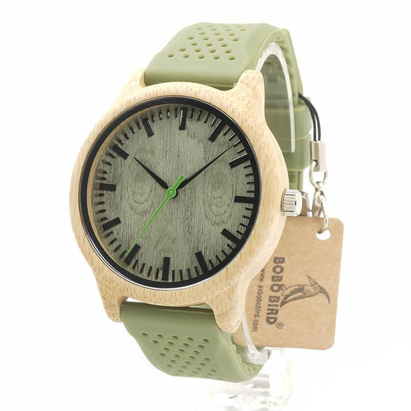 Bobo Bird Bamboo Green Watch w/ Soft Silicone Band - TheMillenialMale.com