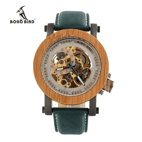 Bobo Bird Luxury Brand Men's Mechanical Watches Bamboo Wood Watch with Genuine Leather Strap - TheMillenialMale.com
