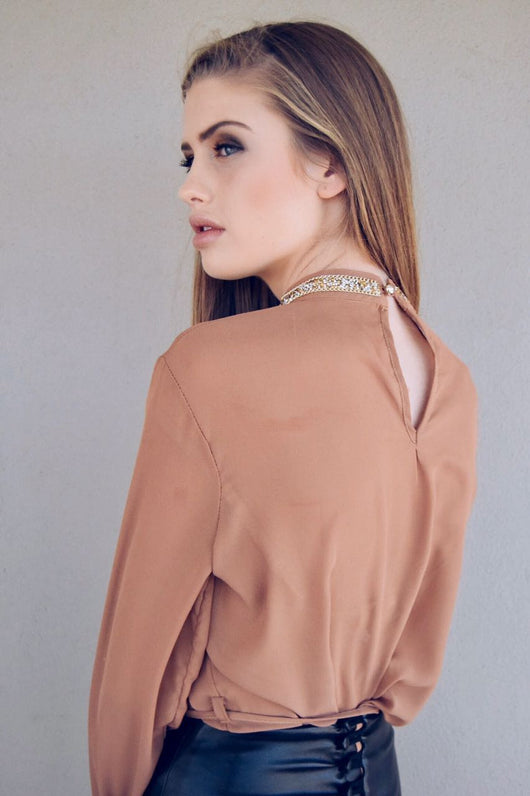 Blouse | halterneck diamante detail