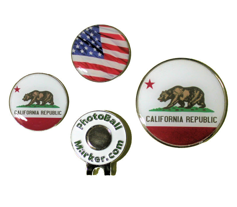 California Ball Marker - State Flag + USA Golf Ball Marker Regular/Jumbo Set