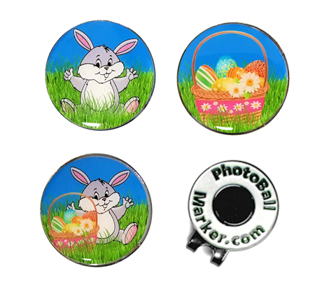 Easter Bunny and Basket - Ball Markers + Hat Clip