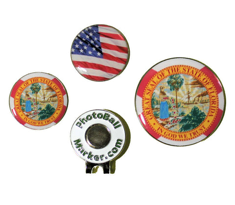 Florida Ball Marker - State Flag + USA Golf Ball Marker Regular/Jumbo Set