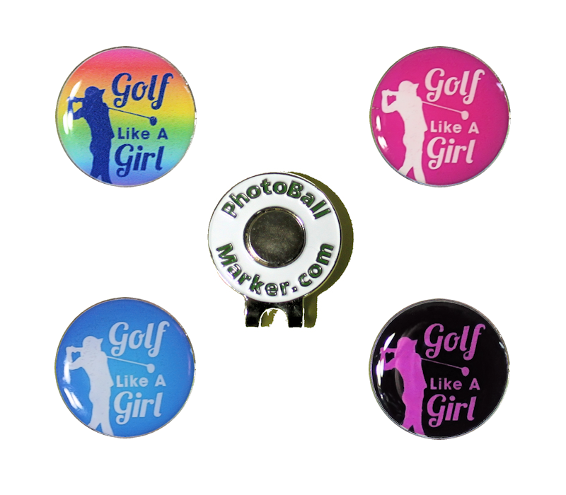 Golf Like a Girl Ball Marker - Set of Four + Hat Clip