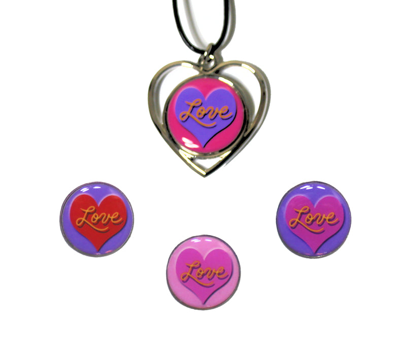 Love Ball Markers & Black Corded Silver Heart Golf Necklace Set