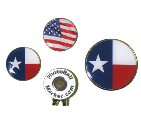 Texas Ball Marker - State Flag + USA Golf Ball Marker Regular/Jumbo Set