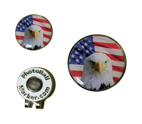 USA Ball Marker = Flag - Eagle Golf Ball Marker Regular/Jumbo Set
