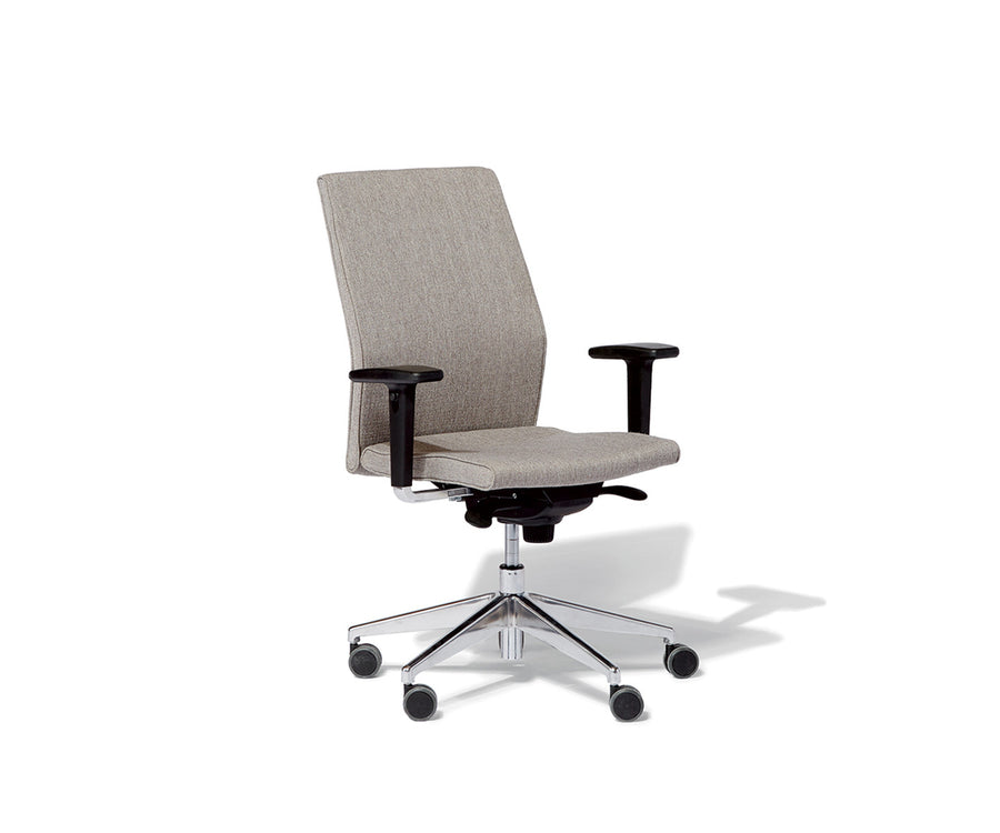 Contoured Mid-Back Upholstered Task Chair with Arms