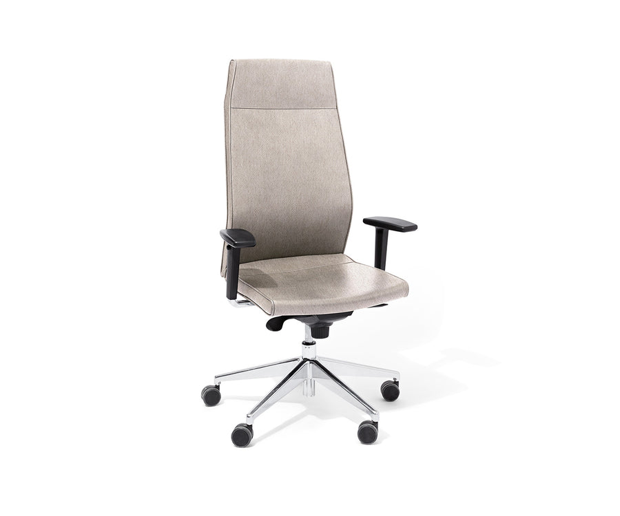 Contoured High-Back Upholstered Task Chair with Arms